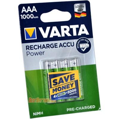 Varta Pro 1000 mAh Recharge Accu Power в блистере. ААА аккумуляторы Varta повышенной ёмкости. RTU.