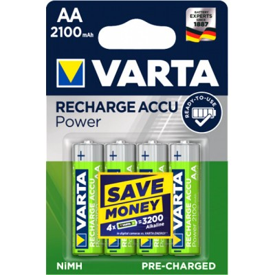 Varta 2100 mAh Recharge Accu Power в блистере (56706). LSD пальчиковые аккумуляторы Varta (RTU).