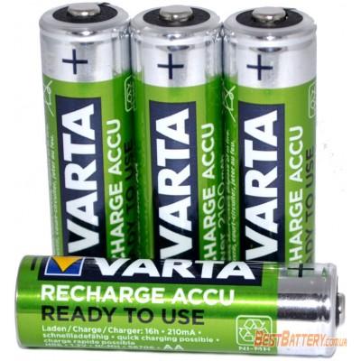 Varta 2100 mAh Recharge Accu Power 4 шт. в боксе (56706). LSD пальчиковые аккумуляторы Varta (RTU).
