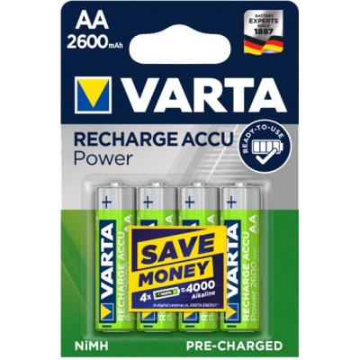 Varta Pro 2600 mAh Recharge Accu Power в блистере (5716). АА аккумуляторы Varta повышенной ёмкости. RTU.
