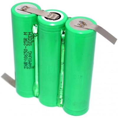 Аккумуляторная сборка 3S1P 2500 mAh 11,1В для шуруповерта на базе аккумуляторов 18650 Samsung 25R.