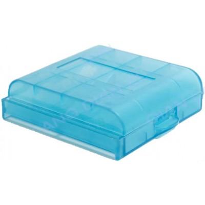 Голубой пластиковый бокс  для пальчиковых АА и минипальчиковых ААА аккумуляторов.