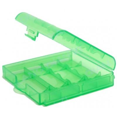 Зеленый пластиковый бокс  для пальчиковых АА и минипальчиковых ААА аккумуляторов.