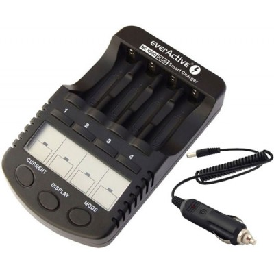 Зарядное устройство EverActive NC1000 Plus для АА и ААА аккумуляторов, интеллектуальное. Автоадаптер в комплекте.