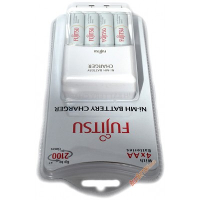 Зарядное устройство Fujitsu FCT343-CEFX (CL) и 4 АА аккумулятора Fujitsu 2000 mAh HR-3UTCEX - Комплект.