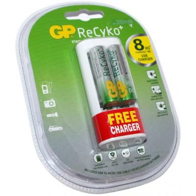Зарядное устройство USB GP Recyko U211 + 2 АА аккумулятора GP ReCyko 2000 mAh.