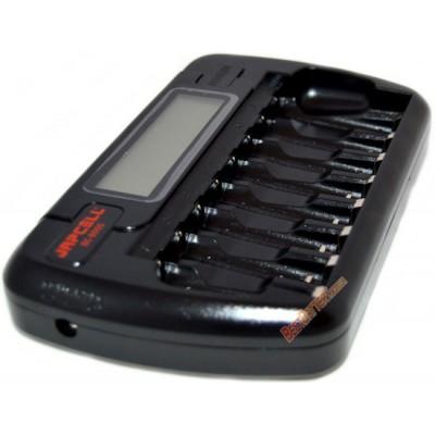 Зарядное устройство на 8 аккумуляторов Japcell BC 800 (АА и ААА) с функцией разряда + Автоадаптер.