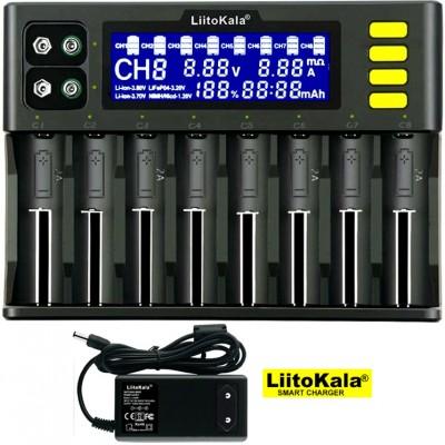 LiitoKala Lii-S8 - универсальное зарядное на 8 аккумуляторов (Li-Ion, LiFePO4, Ni-Mh/Ni-Cd, Крона). Ток 2А. Оригинал.