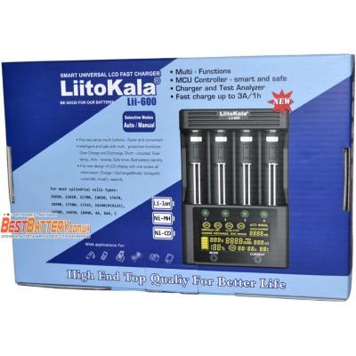 Зарядное устройство LiitoKala Lii-600 на 4 Ni-Mh, Ni-Cd и Li-ion аккумулятора. Ток заряда 3А на канал. Автоадаптер.