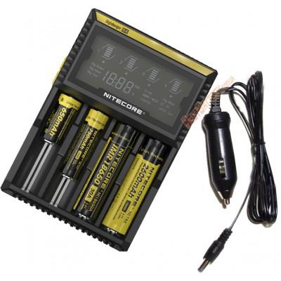 Универсальное зарядное устройство Nitecore Digicharger D4 с LED дисплеем + Автоадаптер в комплекте.