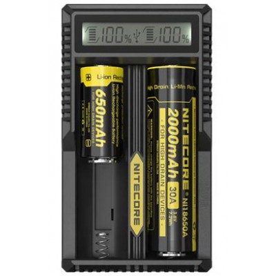 Nitecore UM20 универсальное зарядное устройство с дисплеем для Li-ion аккумуляторов и питанием от USB.