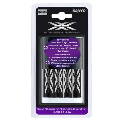 Быстрое зарядное устройство Sanyo Eneloop MQR06 + 4 Sanyo Eneloop XX HR-UWXB.