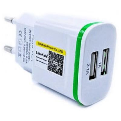 Блок питания LiitoKala Lii-U2 на 2 USB выхода (2100 mA + 1000 mA.).