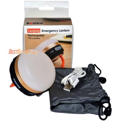 Кемпинговый фонарь Soshine CB2 на 170 люмен со встроенным аккумулятором на 1800 mAh + Power Bank.