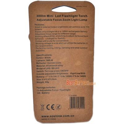 Походный фонарь Soshine TC3 на 300 люмен в алюминиевом корпусе с питанием от 1хАА или 1х14500.