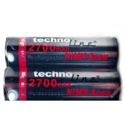 Фирменные пальчиковые аккумуляторы Technoline ёмкостью 2700 mAh.