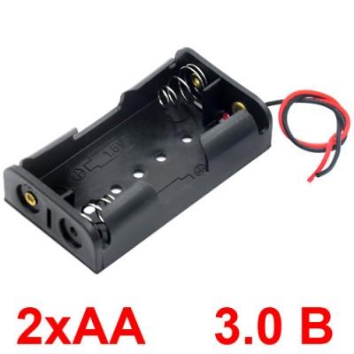 Держатель (холдер) с контактами на 2 аккумулятора / 2 батарейки AA с последовательным соединением (3.0V).