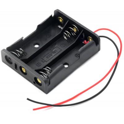 Держатель (холдер) с контактами на 3 аккумулятора / 3 батарейки AA с последовательным соединением (4.5V).