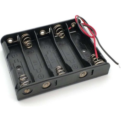Держатель (холдер) с контактами на 5 аккумуляторов / 5 батареек AA с последовательным соединением (7.5V).