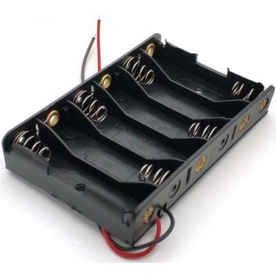Держатель (холдер) с контактами на 6 аккумуляторов / 6 батареек AA с последовательным соединением (9.0V).