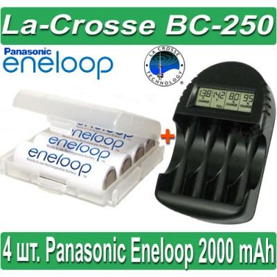 Комплект: La-Crosse BC 250 + 4 Panasonic Eneloop 2000 mAh BK-3MCCE (AA).
