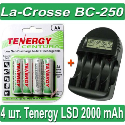 Комплект: La-Crosse BC-250 + 4 Tenergy Centura LSD 2000 mAh (AA).