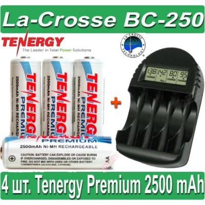 Комплект: La-Crosse BC-250 + 4 Tenergy Premium 2500 mAh (AA).