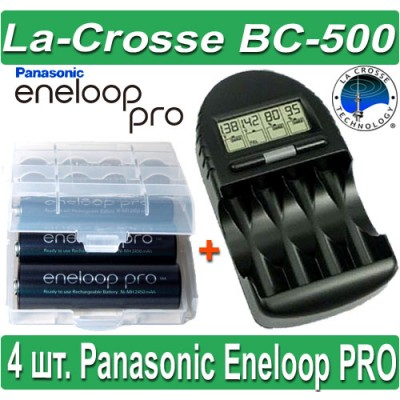 Комплект: La-Crosse BC 500 + 4 Panasonic Eneloop Pro 2550 mAh (AA).
