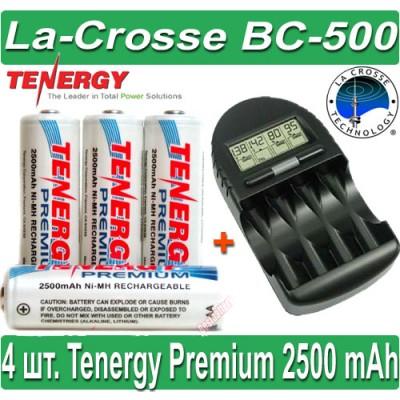 Комплект: La-Crosse BC-500 + 4 Tenergy Premium 2500 mAh (AA).