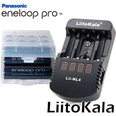 Зарядное устройство Liitokala Lii-NL4 и 4 пальчиковых аккумулятора Panasonic Eneloop Pro 2600 mAh (BK 3HCDE) в боксе.