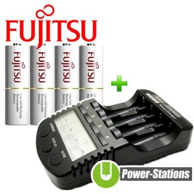 Зарядное устройство DLY Full T1 и 4 пальчиковых аккумулятора Fujitsu 2000 mAh в боксе.