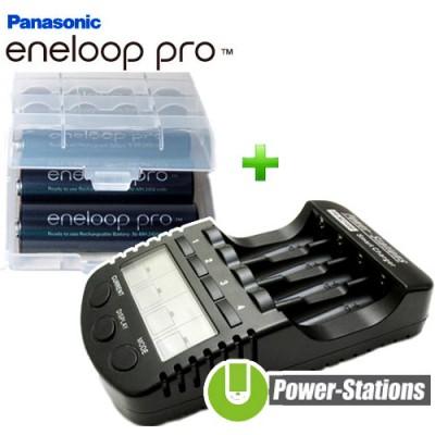 Зарядное устройство DLY Full T1 и 4 пальчиковых аккумулятора Panasonic Eneloop Pro 2600 mAh (BK 3HCDE) в боксе.
