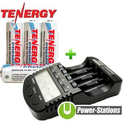 Зарядное устройство DLY Full T1 и 4 пальчиковых аккумулятора Tenergy Premium 2500 mAh + Бокс.