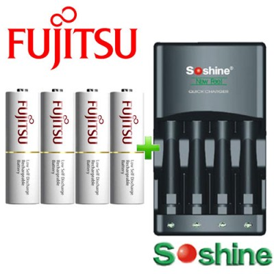 Зарядное устройство Soshine SC-U1 и 4 пальчиковых аккумулятора Fujitsu 2000 mAh (min 1900) в боксе.