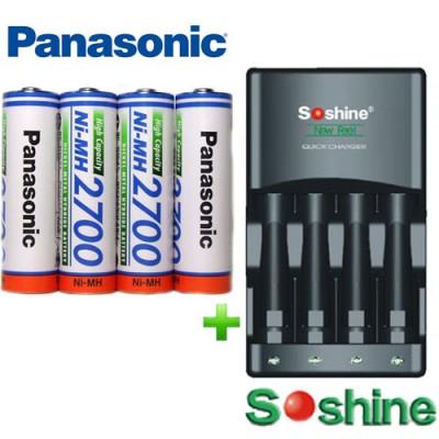 Зарядное устройство Soshine SC-U1 и 4 пальчиковых аккумулятора Panasonic 2700 mAh (BK 3HGAE) в боксе.