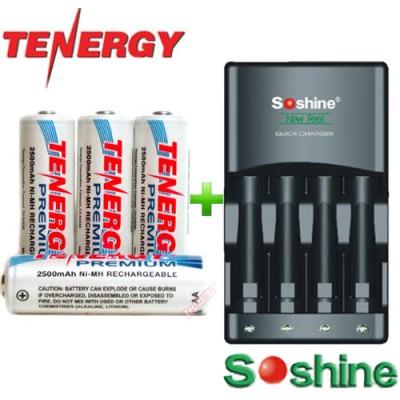 Зарядное устройство Soshine SC-U1 и 4 пальчиковых аккумулятора Tenergy Premium 2500 mAh в боксе.