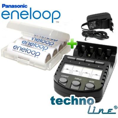 Technoline BC-700 + 4 шт. Panasonic Eneloop 2000 mAh BK-3MCCE комплект со скидкой.