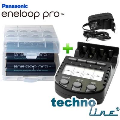 Комплект: Technoline BC-700 и 4 Panasonic Eneloop Pro 2600 mAh (BK-3HCDE).