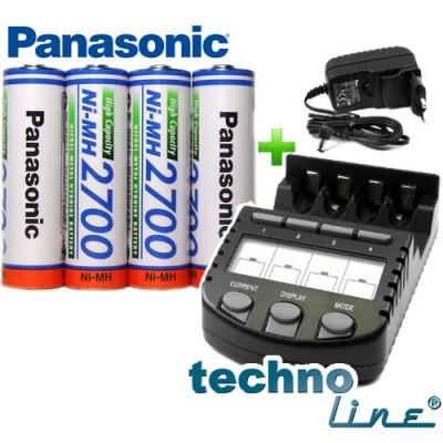 Зарядное устройство Technoline BC-700 и 4 пальчиковых аккумулятора Panasonic 2700 mAh BK 3HGAE + Бокс.