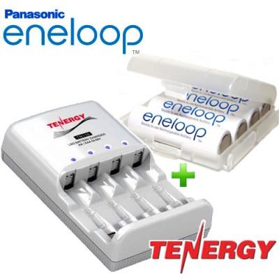 Зарядное устройство Tenergy TN138 и 4 пальчиковых аккумулятора Panasonic Eneloop 2000 mAh (BK 3MCCE) в боксе.