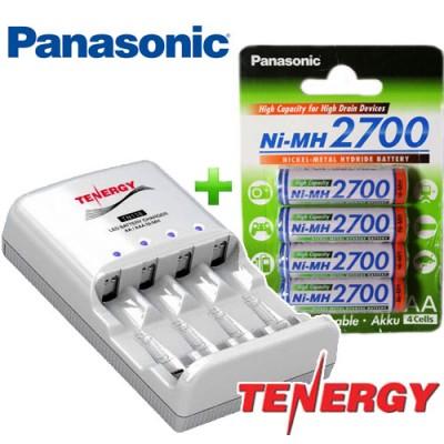 Комплект: 4 пальчиковых аккумулятора Panasonic 2700 mAh и зарядное устройство Tenergy TN138.