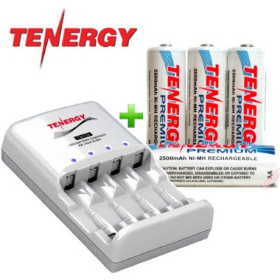 Зарядное устройство Tenergy TN138 и 4 пальчиковых аккумулятора Tenergy Premium 2500 mAh (AA) + Бокс.