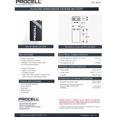Щелочная батарейка Крона 9V Duracell Procell 6F22. Цена за 1 шт.