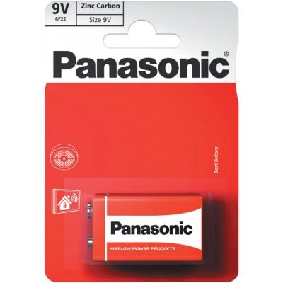 Солевая батарейка Крона 9В Panasonic Red Zinc Carbon (6F22), 9В в блистере. Цена за 1 шт.
