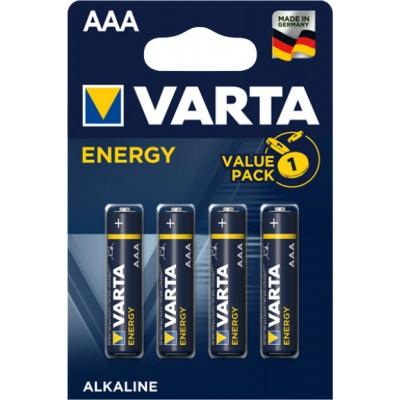 Минипальчиковые щелочные батарейки Varta Energy AАА / LR03 (4103), 1.5В. Цена за уп. 4 шт. Alkaline.