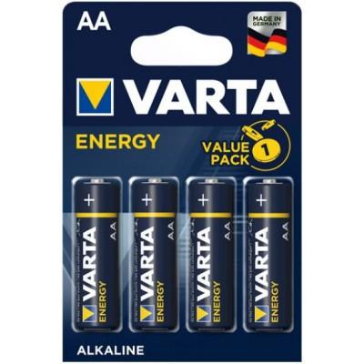 Пальчиковые щелочные батарейки Varta Energy АА / LR6 (4106), 1.5В. Цена за уп. 4 шт. Alkaline.