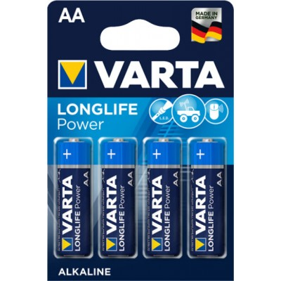 Пальчиковые щелочные батарейки Varta Longlife Power АА / LR6 (4906), 1.5В. Цена за уп. 4 шт. Alkaline.