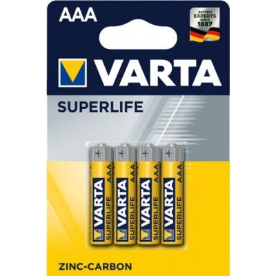 Минипальчиковые солевые батарейки Varta Superlife Zinc Carbon ААА / R03 (2003), 1.5В. 4 шт. в блистере. Цена за уп. 4 шт.
