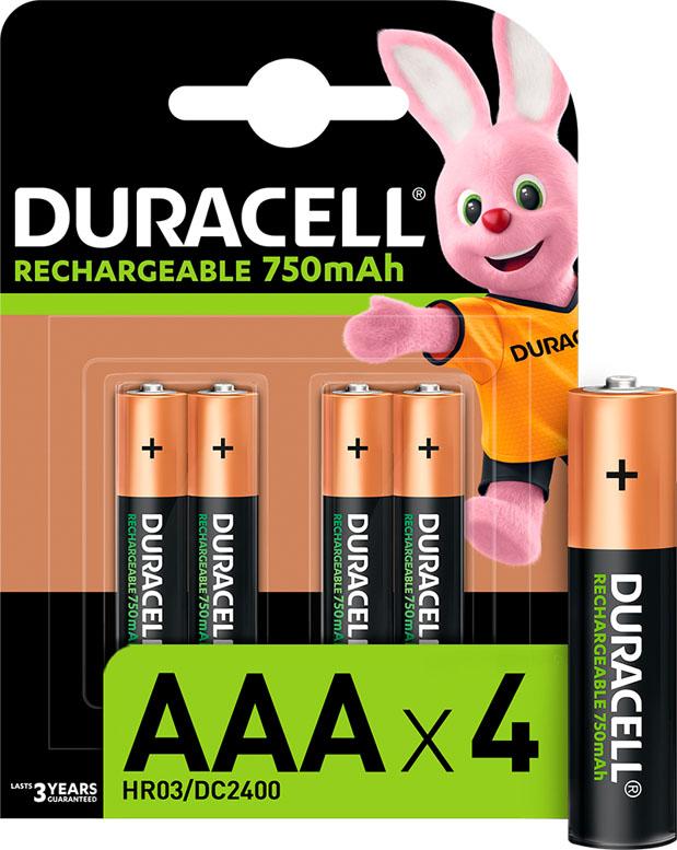 Минипальчиковые аккумуляторы DURACELL 750 mAh 4 шт. в блистере.