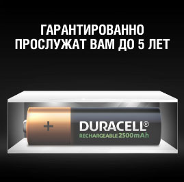 Срок эксплуатации аккумуляторов Duracell АА 2500 mAh DX1500 до 5 лет.